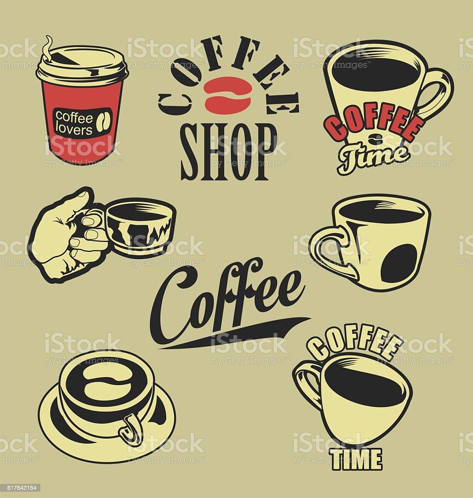 Coffee lovers retro vintage design collection vector art illustration