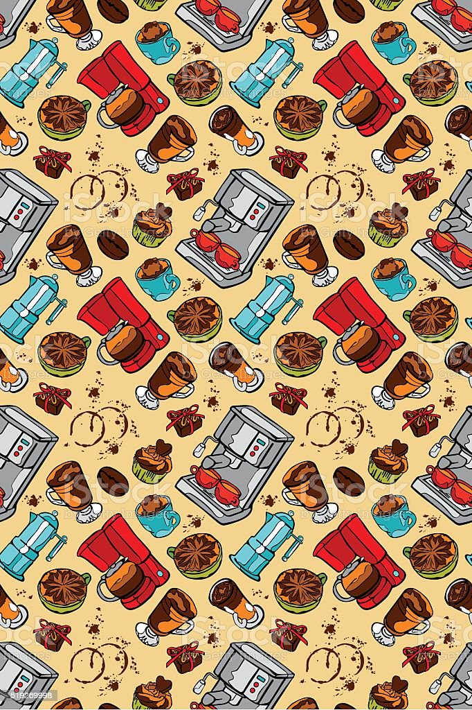 Coffee machine. Coffee pot and coffee cup. Vector seamless pattern. vector art illustration