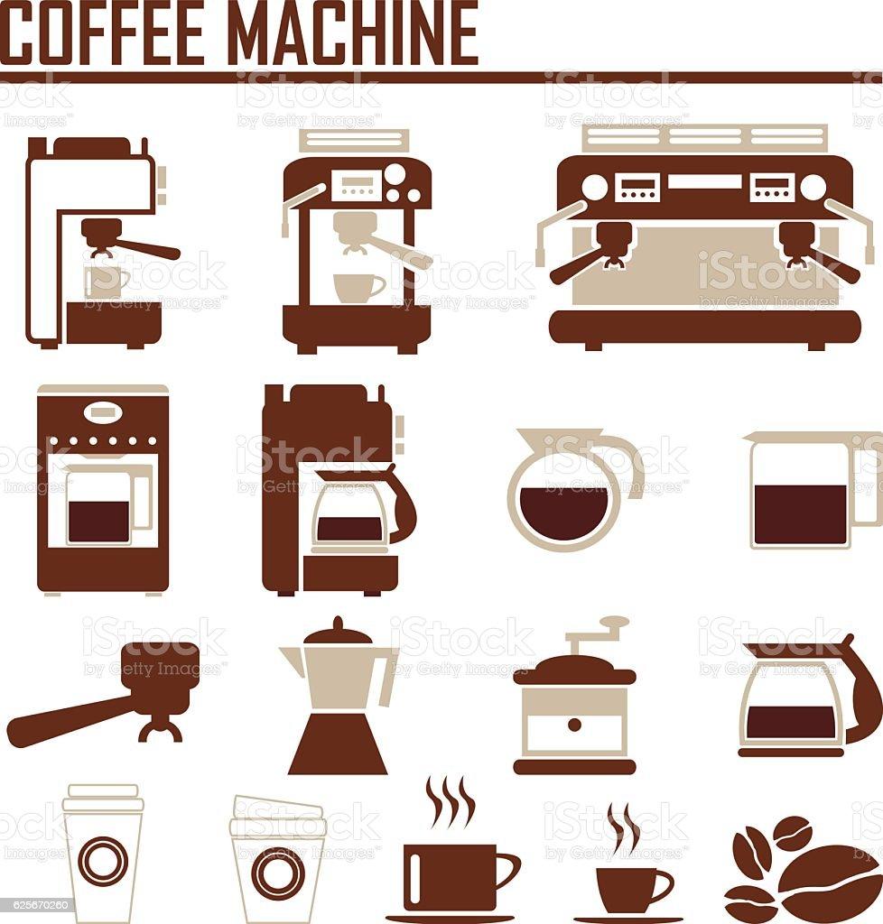 coffee machine icons vector art illustration
