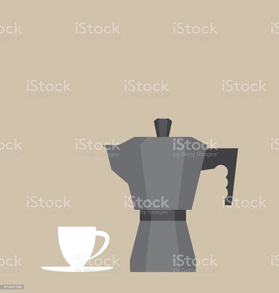 Coffee maker and a small white cup vector art illustration