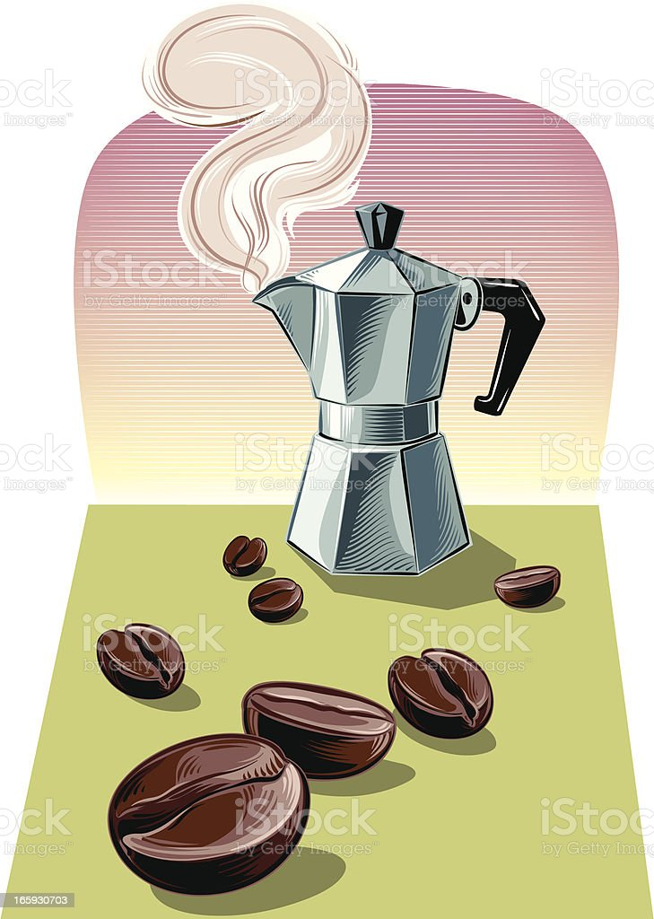 coffee maker and beans royalty-free stock vector art