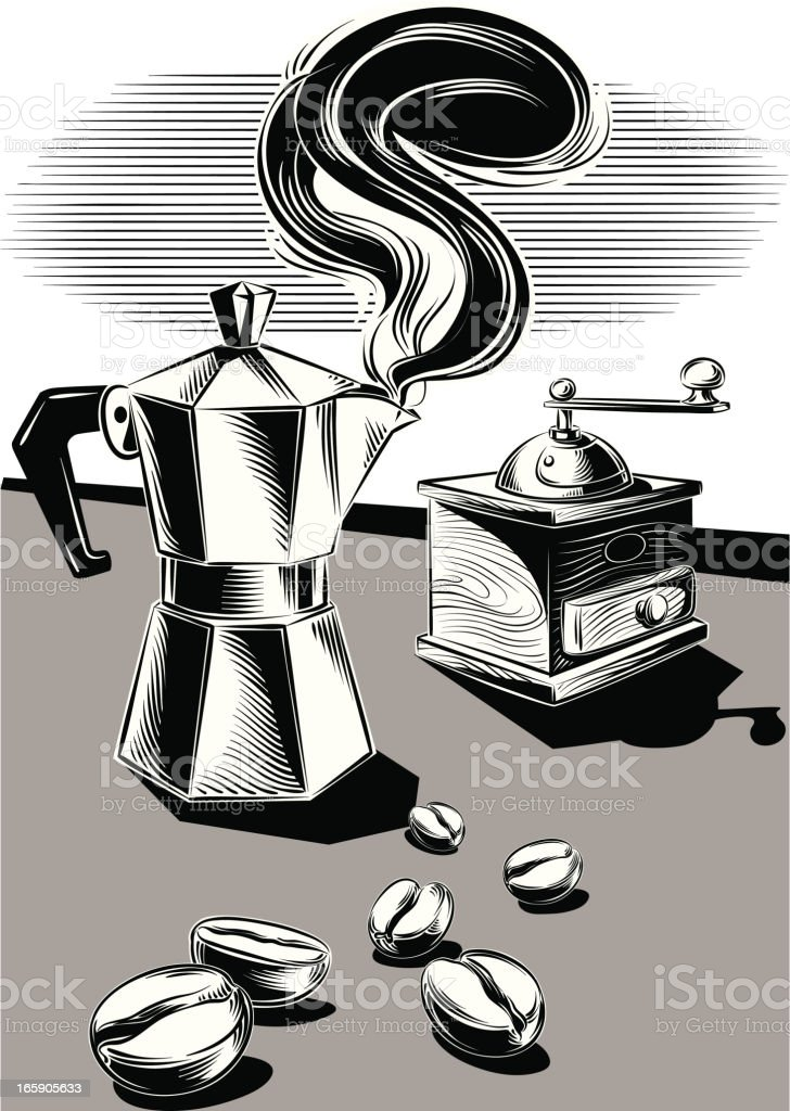 coffee maker and grinder royalty-free stock vector art