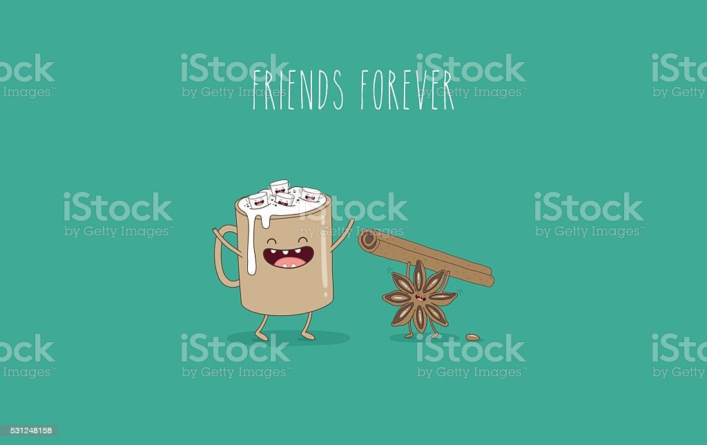 coffee marshmallow vector art illustration