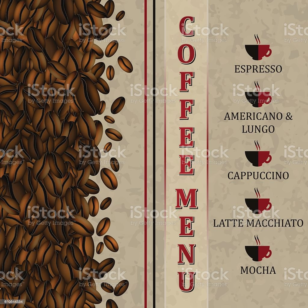 Coffee menu background with coffee beans. vector art illustration