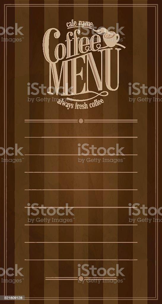 Coffee Menu retro card vector art illustration