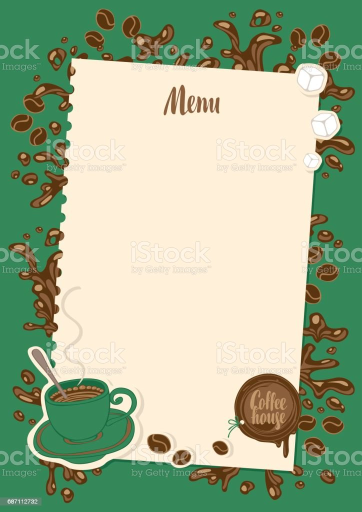 coffee menu with cup, sugar and sheet of paper vector art illustration