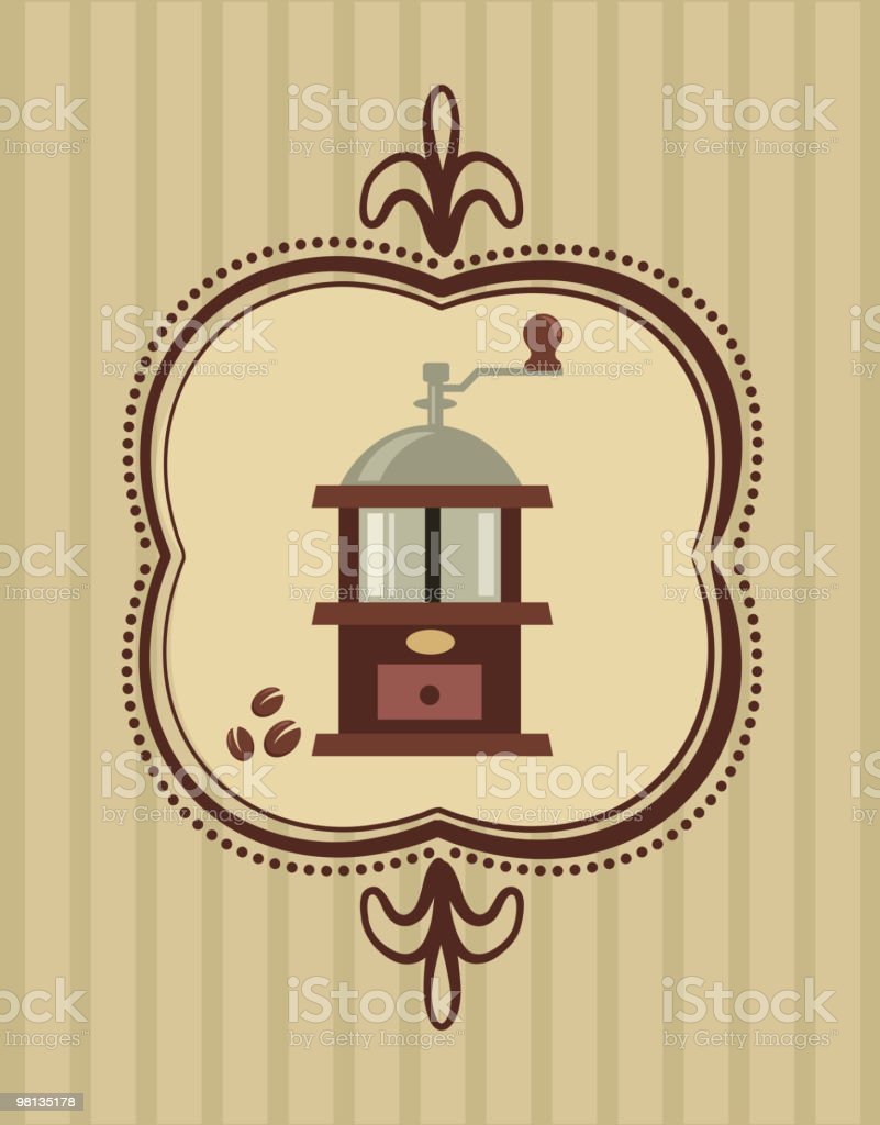 coffee mill - retro menu layout for cafe royalty-free stock vector art