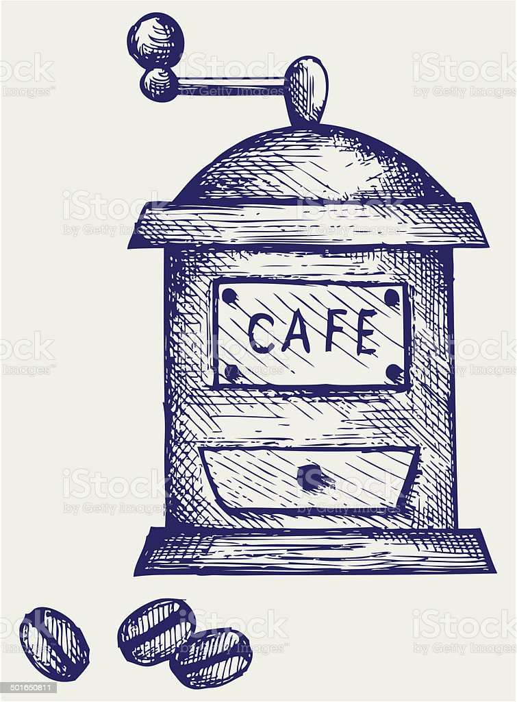 Coffee mill vector art illustration