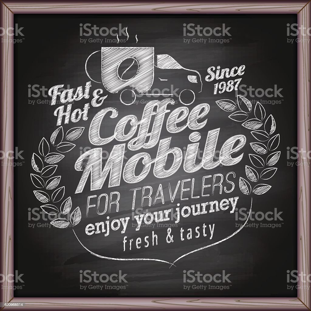 Coffee mobile on blackboard vector art illustration