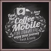 Coffee mobile on blackboard