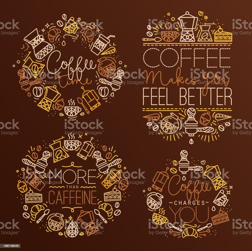 Coffee monograms vector art illustration