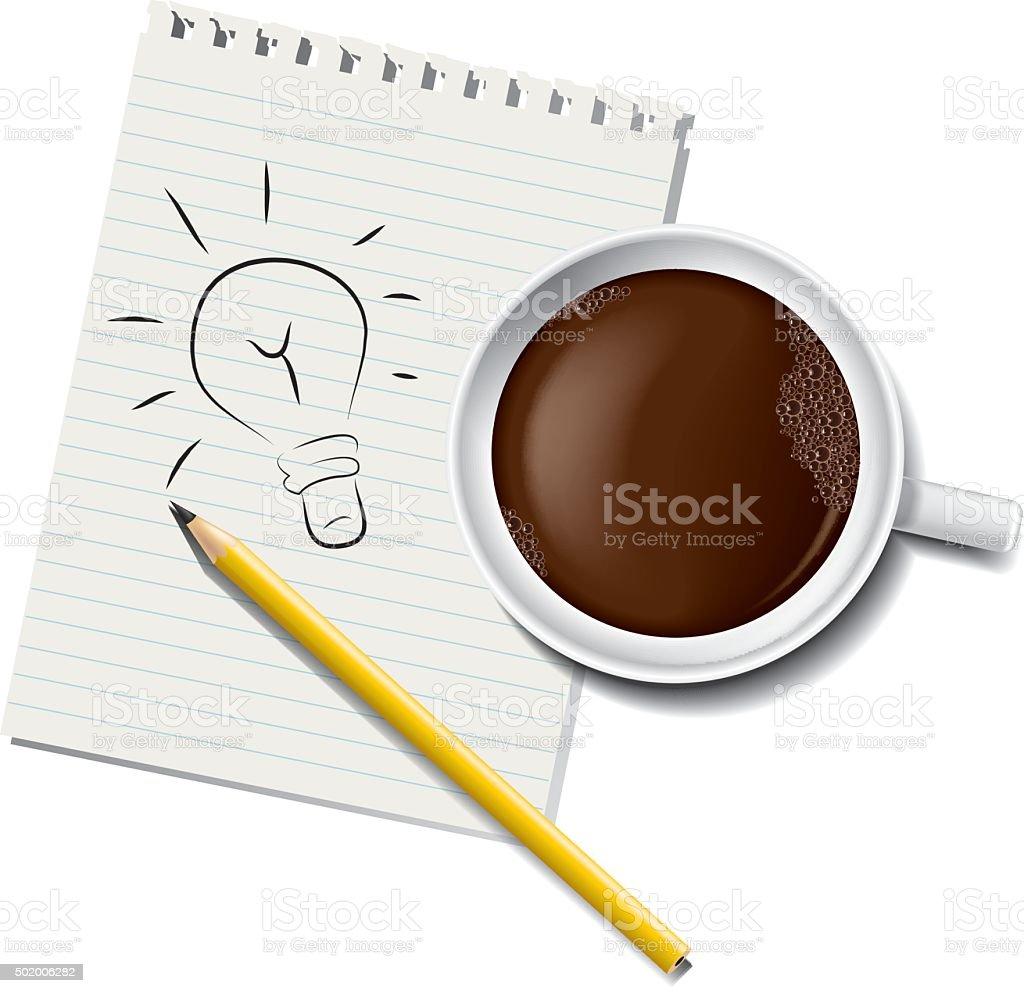 coffee & notebook vector art illustration