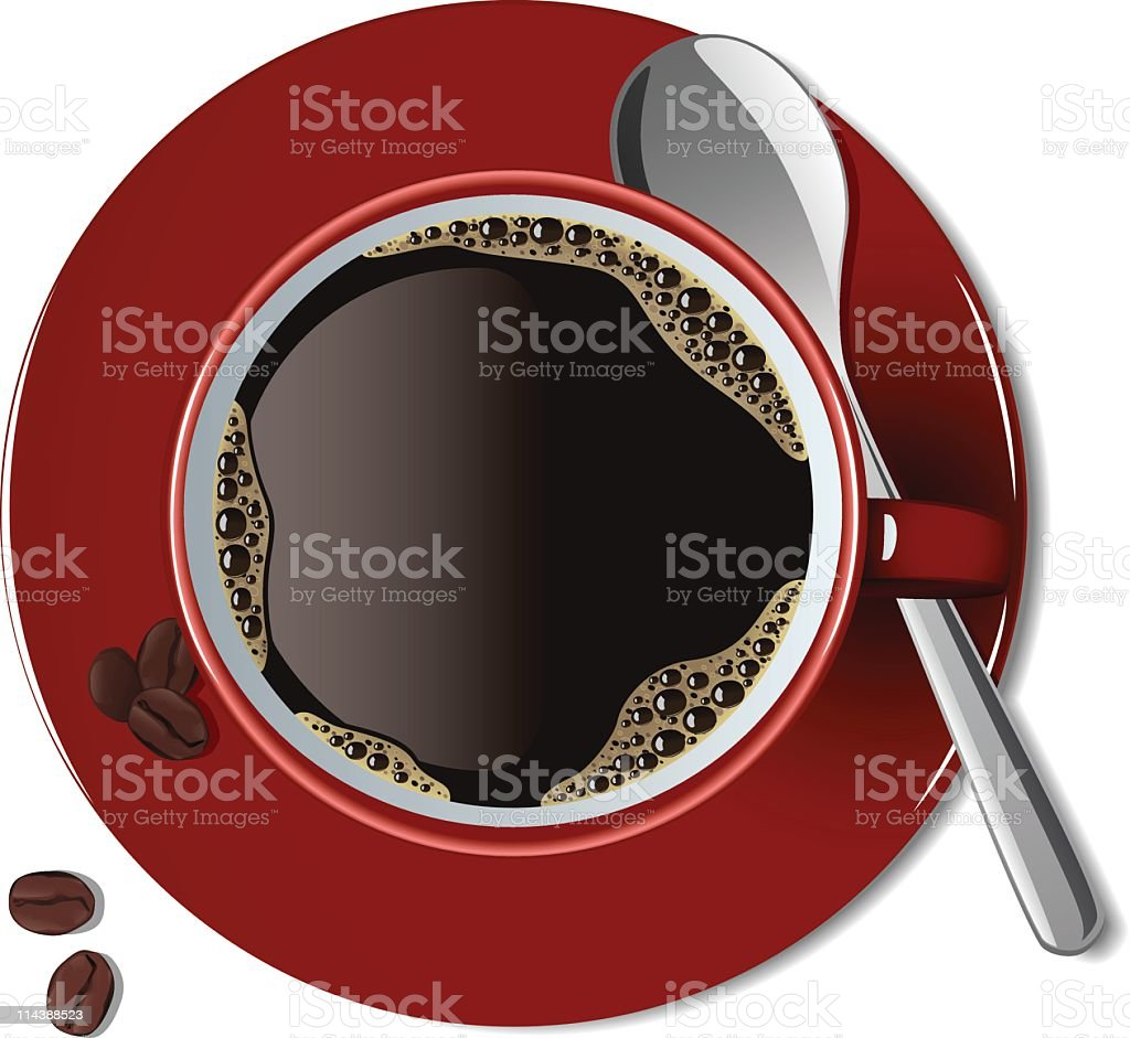 Coffee on a red plate with a spoon and coffee beans vector art illustration