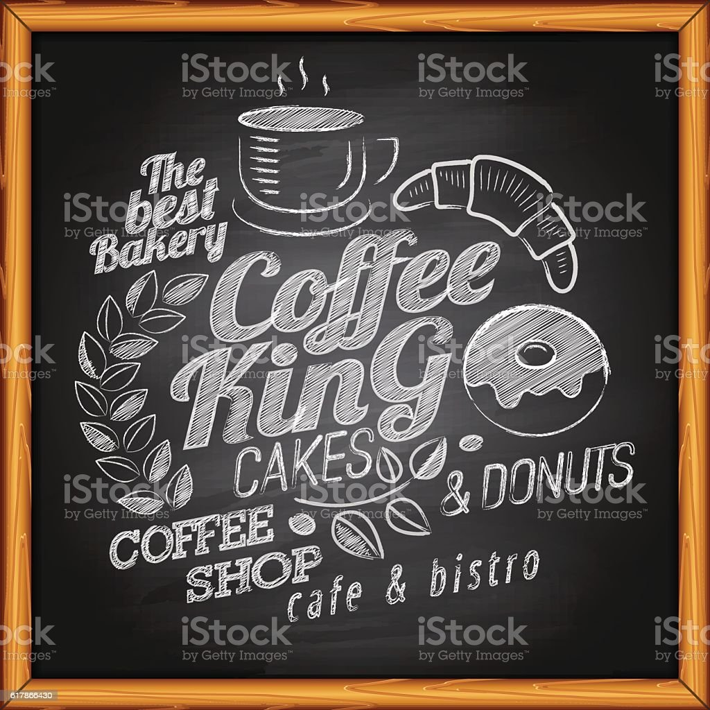 Coffee on blackboard vector art illustration