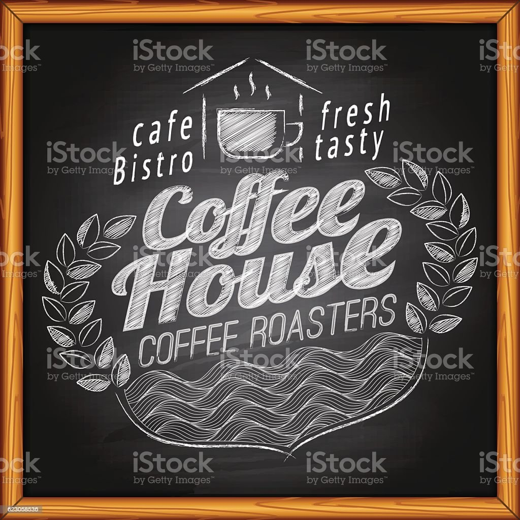 Coffee on chalkboard vector art illustration