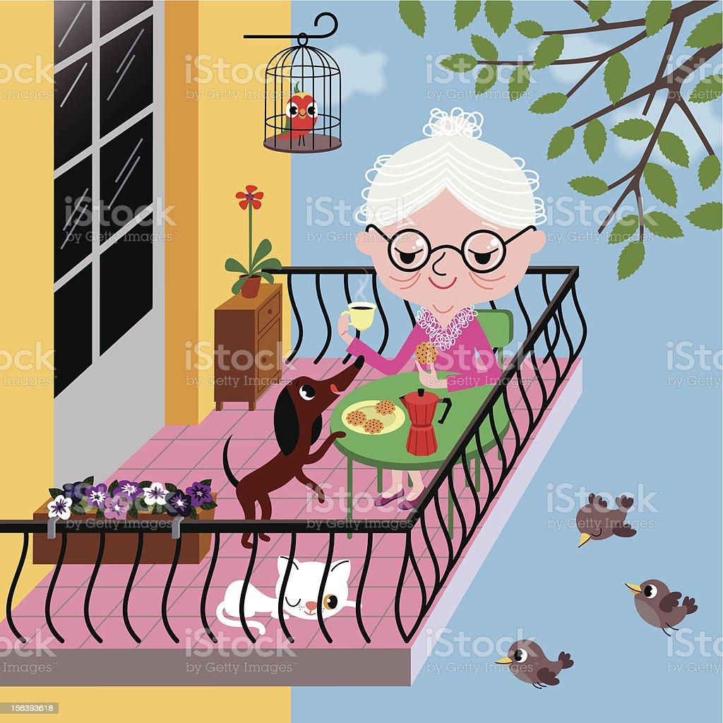 Coffee on the Balcony. vector art illustration