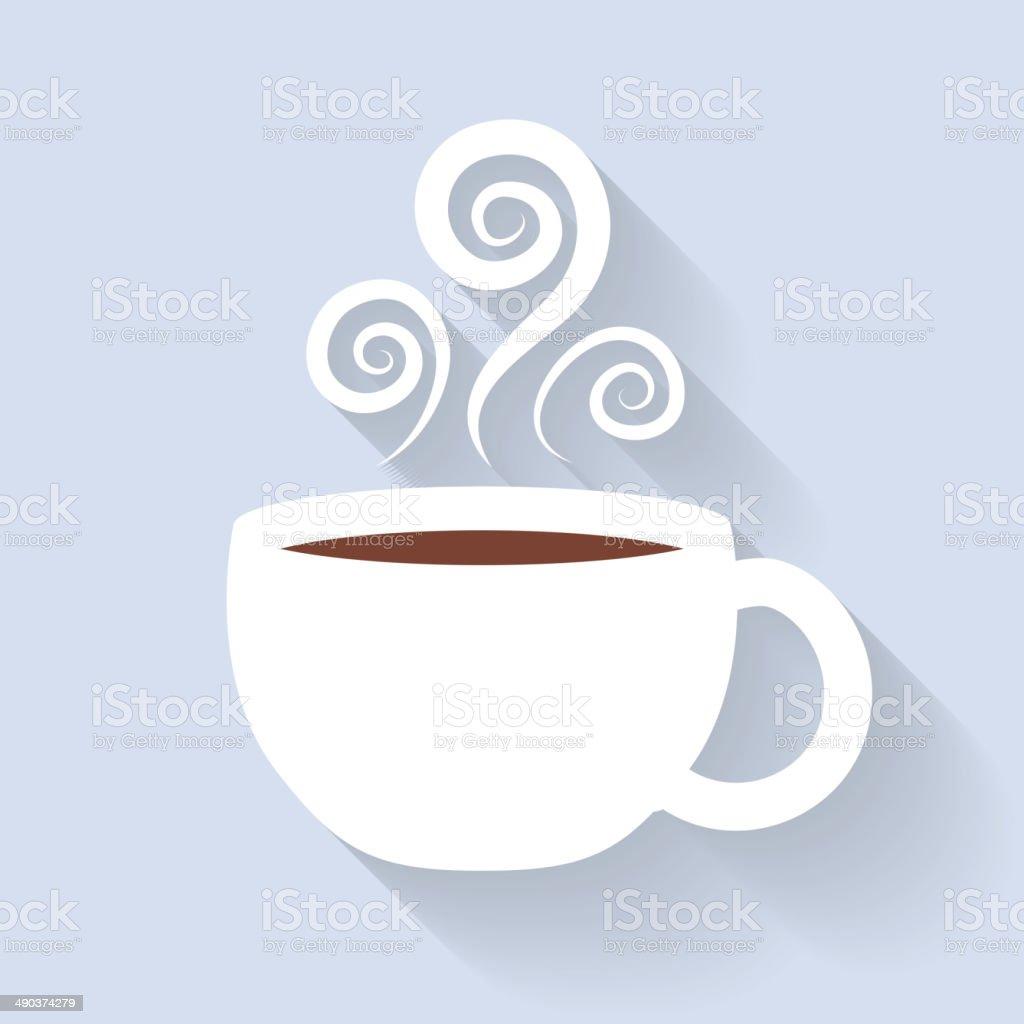 Coffee or tea cup icon. White mug. vector art illustration