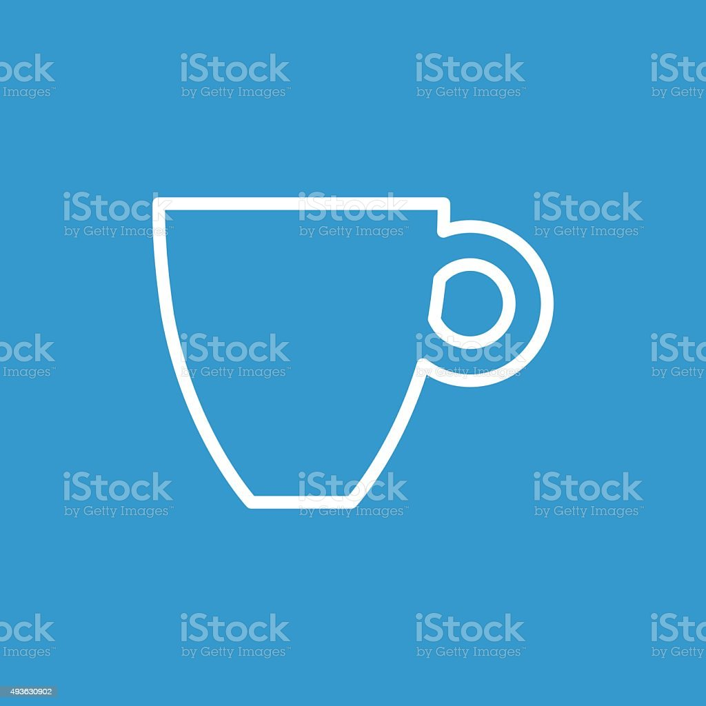 coffee outline icon, isolated, white on the blue background vector art illustration