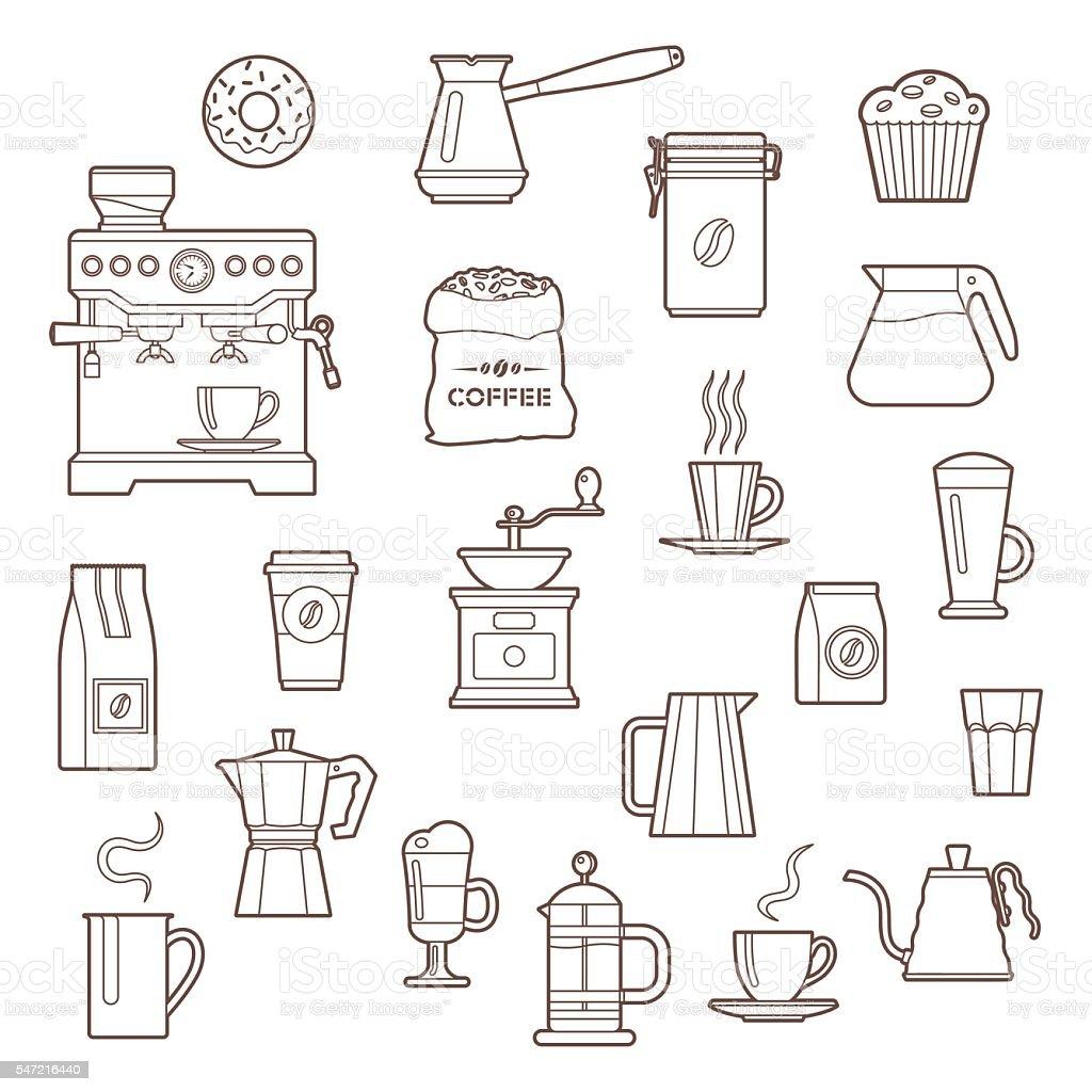 Coffee outline icon set vector art illustration