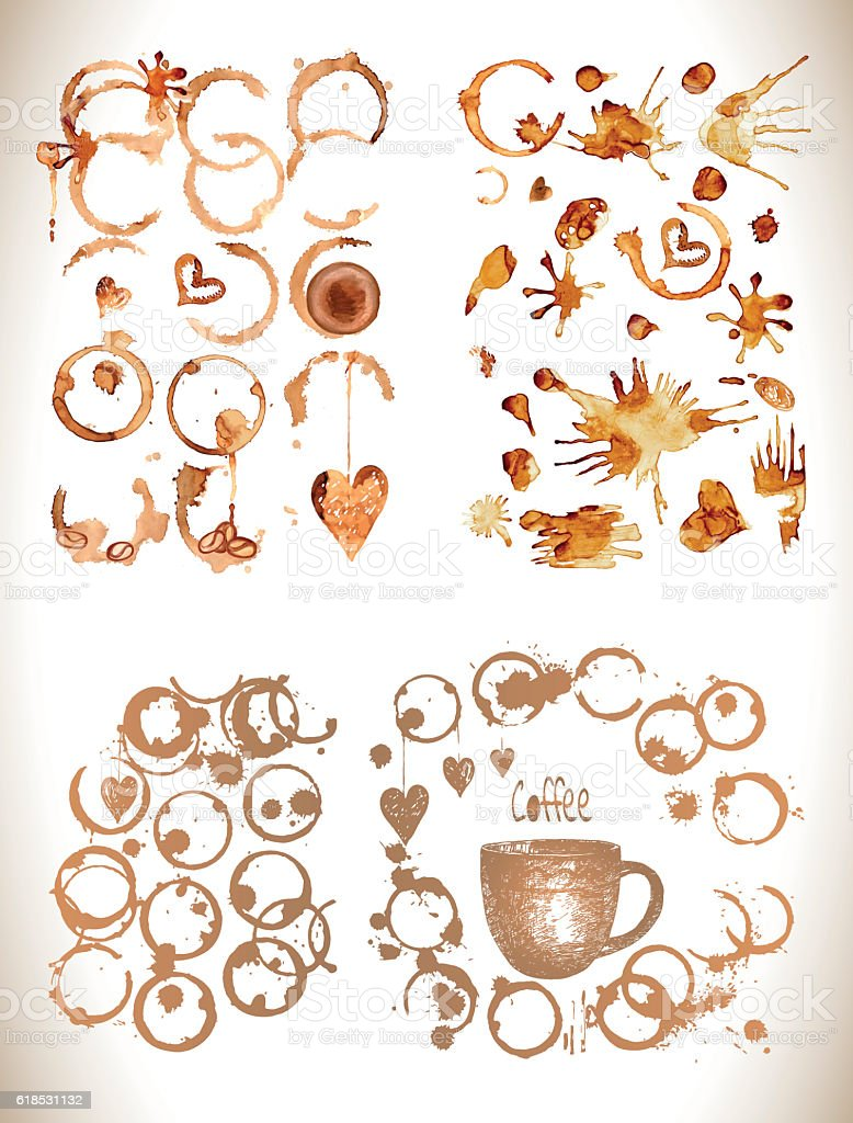 Coffee paint  cup  splashes and harts. vector art illustration