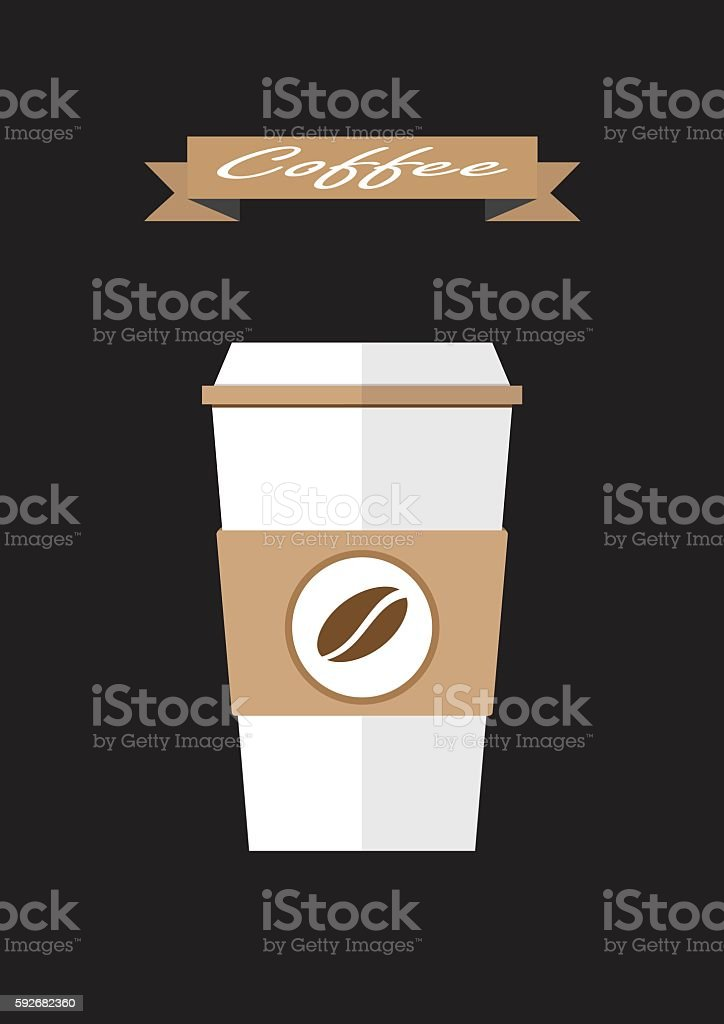 coffee paper cup flat icon.Coffee takeaway vector illustration vector art illustration