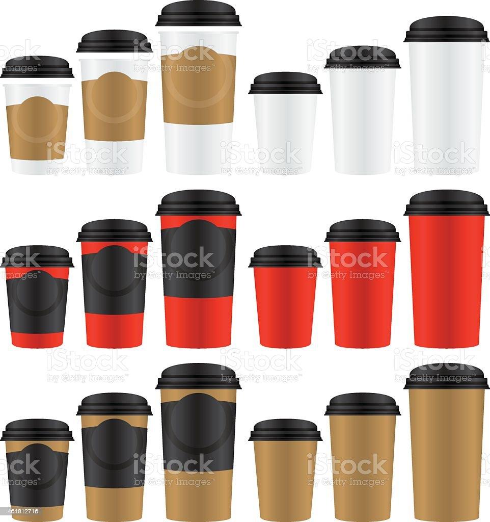 coffee paper glasses vector art illustration