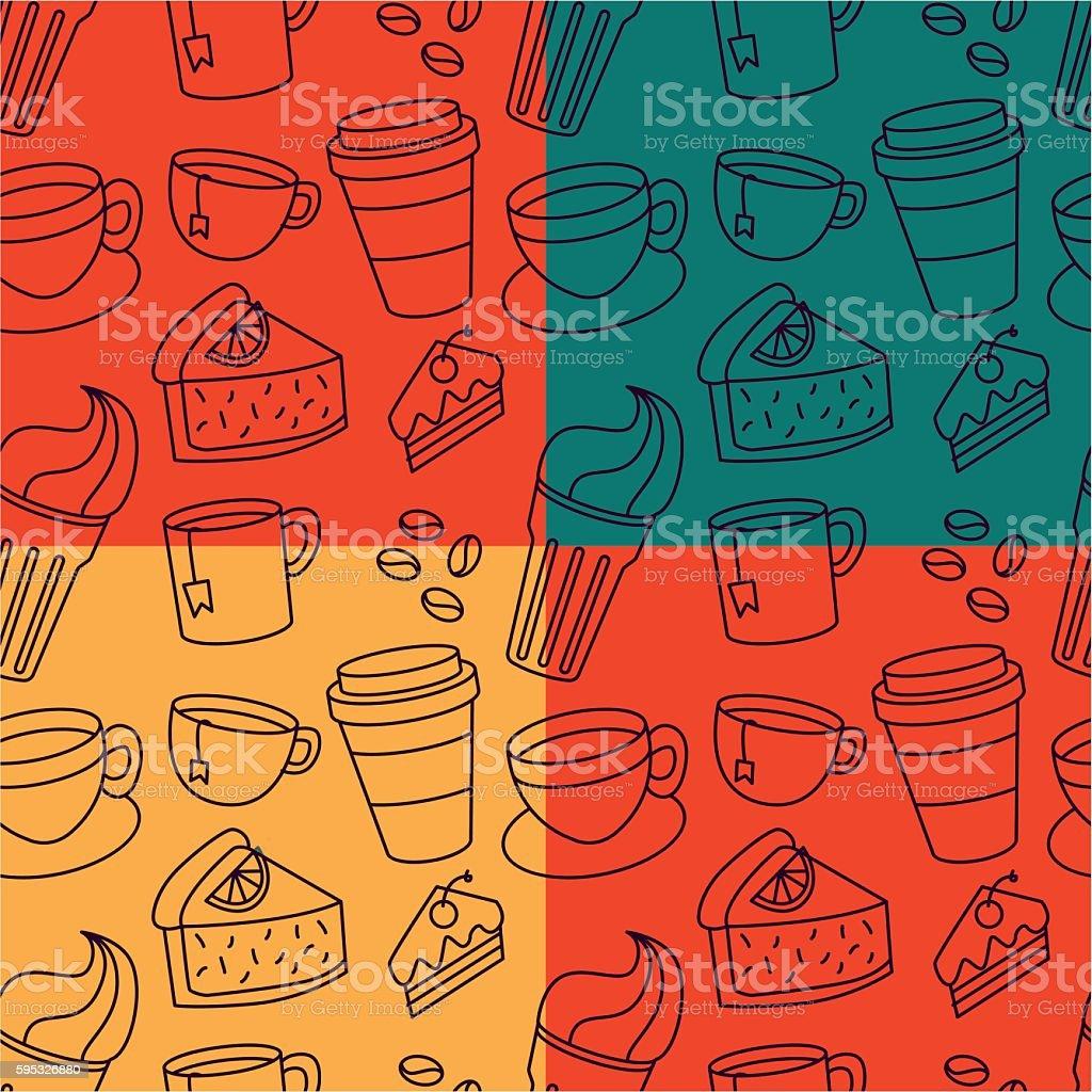 Coffee Pattern vector art illustration