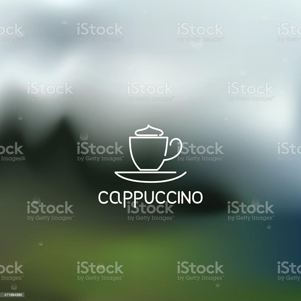 Coffee pictogram on rainy flare background vector art illustration