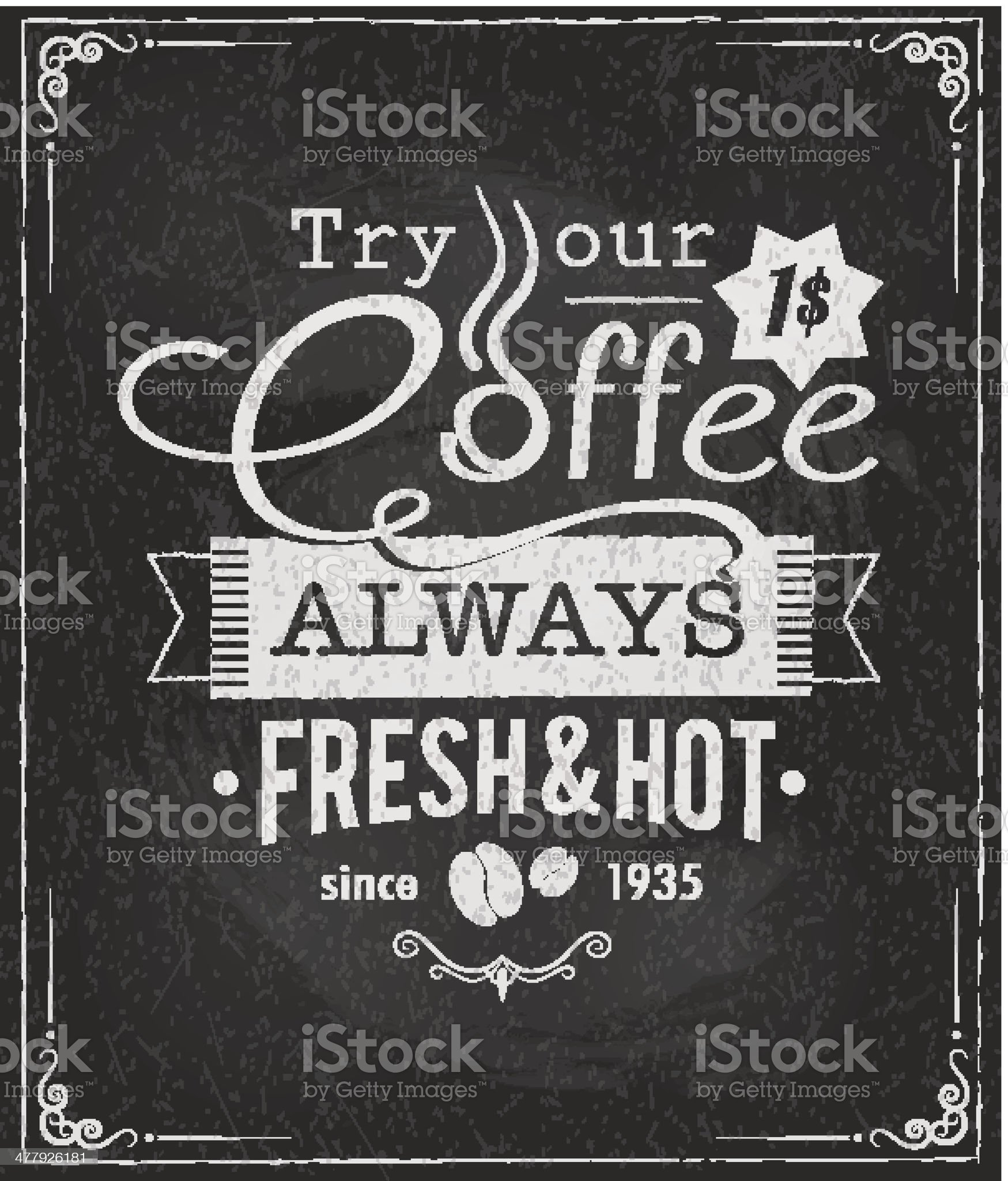 coffee poster on chalkboard royalty-free stock vector art