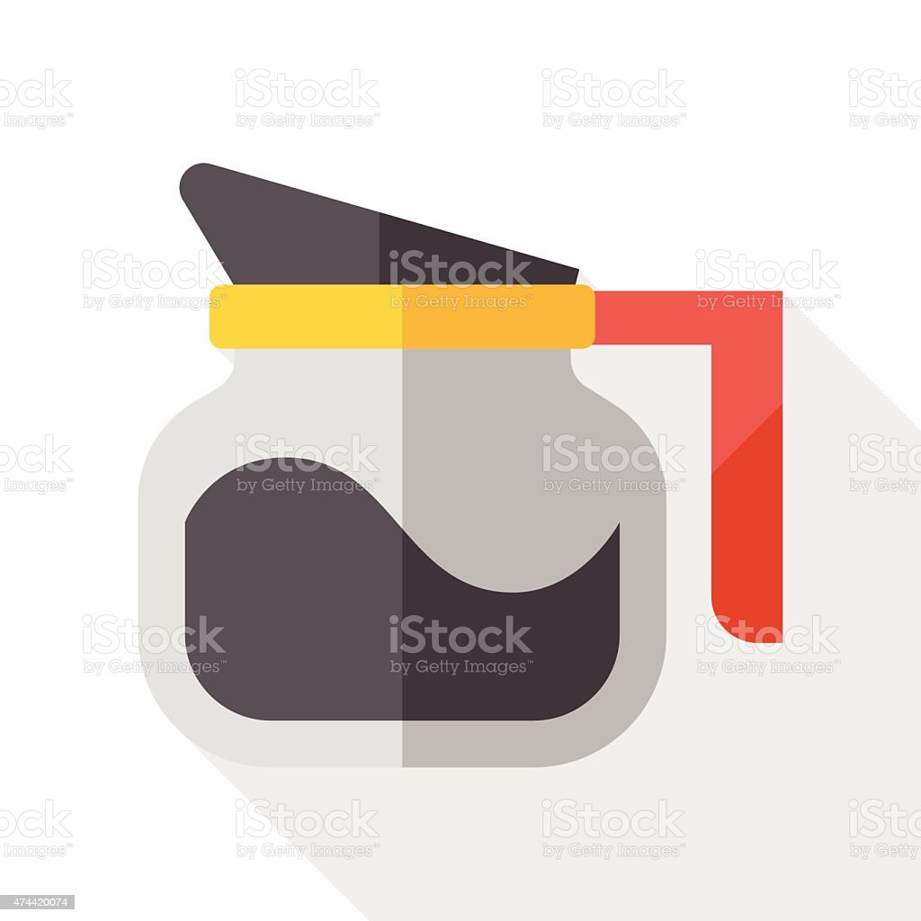 coffee pot flat icon with long shadow vector art illustration