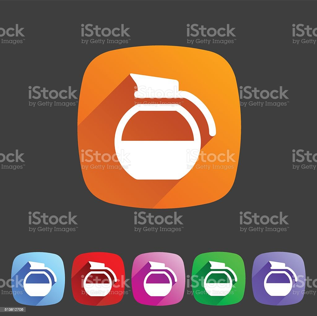 coffee pot kettle icon flat web sign symbol logo label vector art illustration
