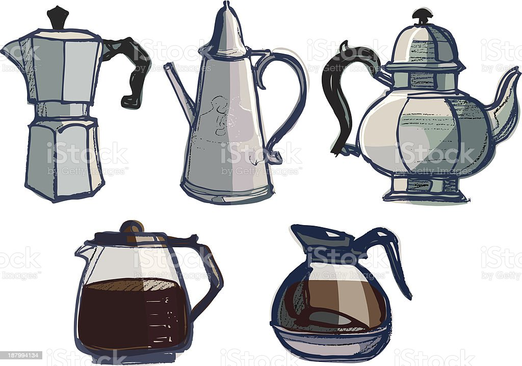 Coffee Pots, Jugs and Urns Various royalty-free stock vector art