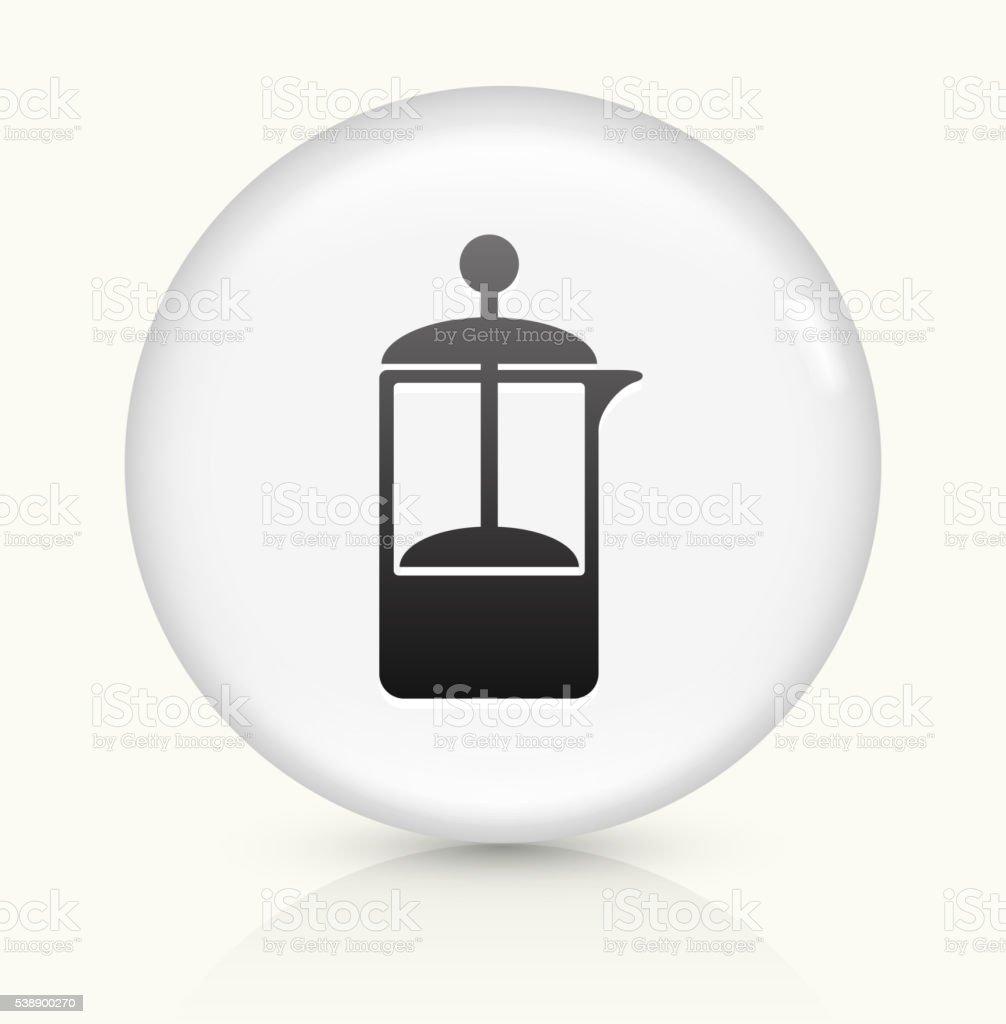Coffee Press icon on white round vector button vector art illustration