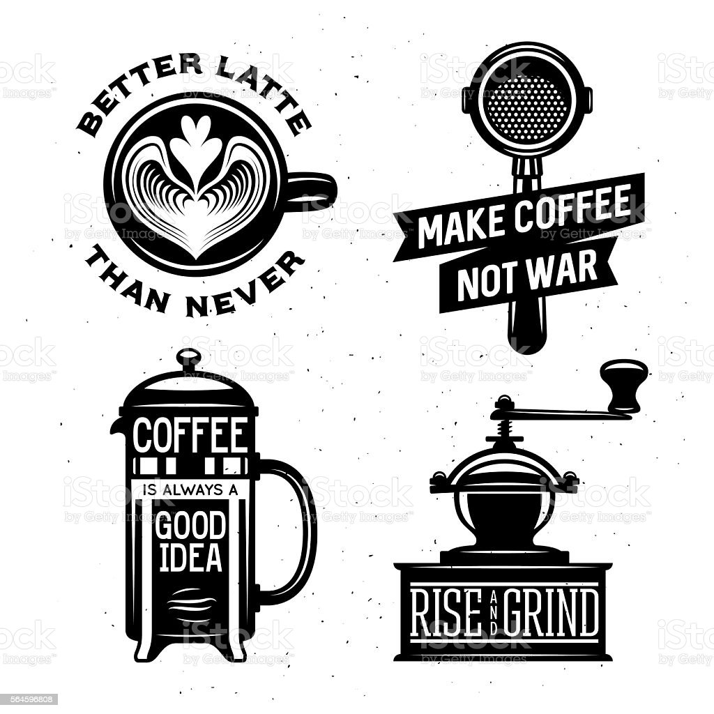 Coffee related vintage vector illustration with quotes. vector art illustration