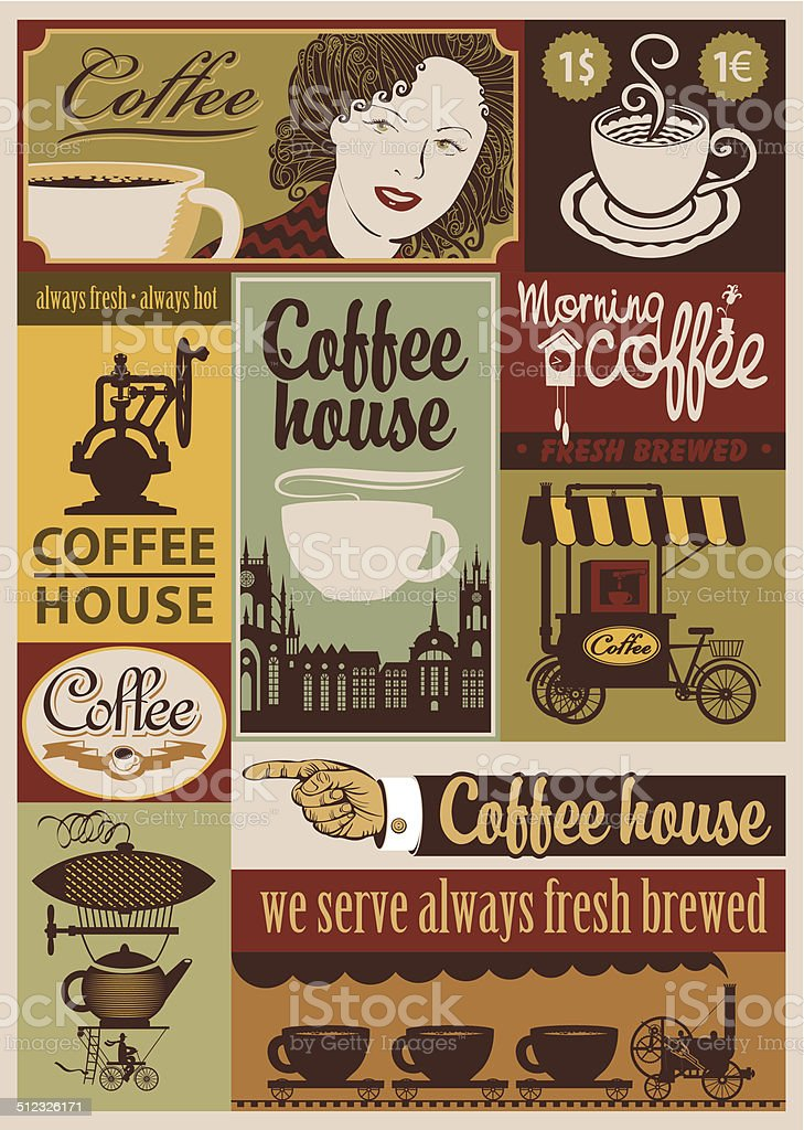 Coffee retro set vector art illustration