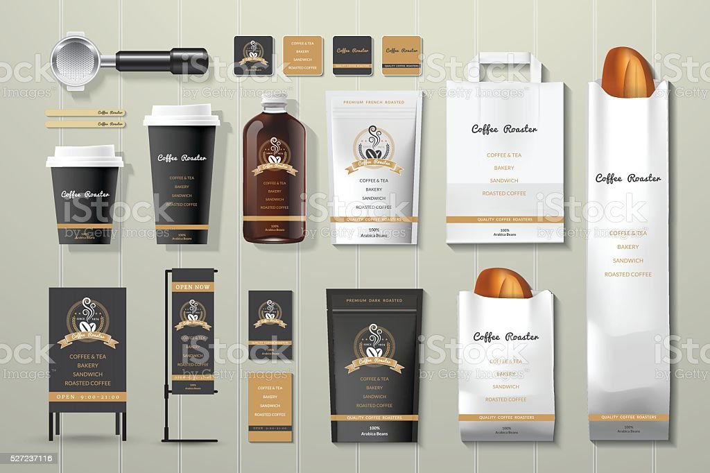 Coffee roaster black and gold corporate identity template design set vector art illustration