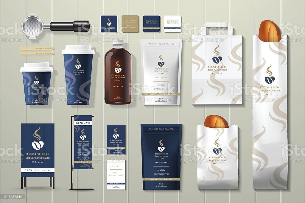 Coffee roaster corporate identity template design set vector art illustration