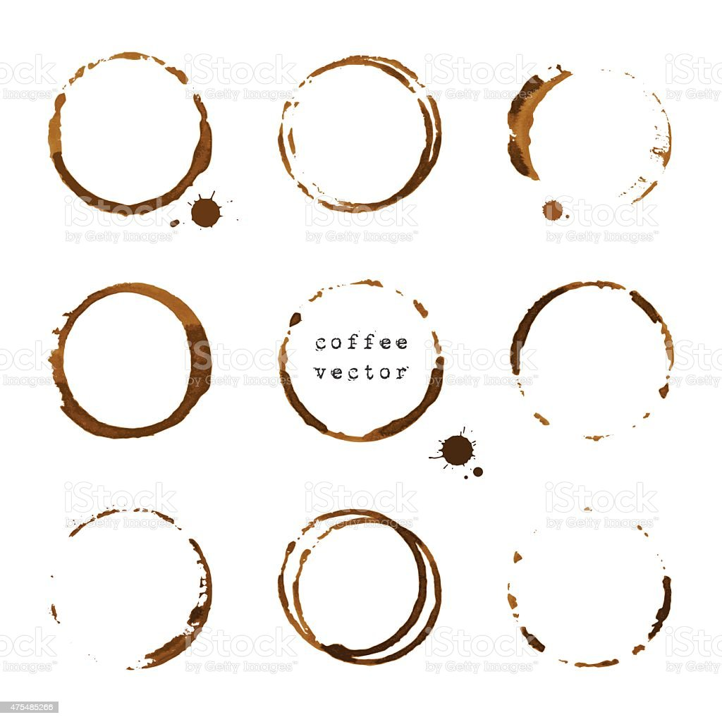 Coffee round stains and blots vector art illustration