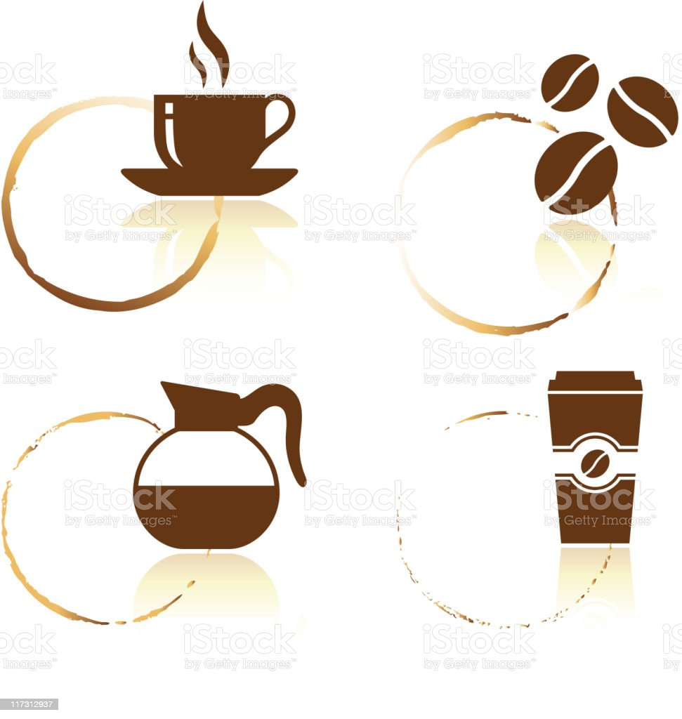 Coffee royalty free vector icon set with cup stains royalty-free stock vector art