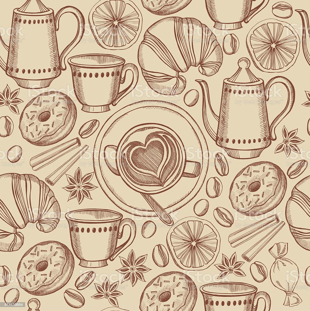 Coffee seamless pattern background vector. Bakery, croissants an vector art illustration