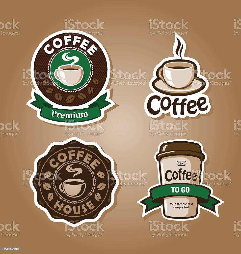 coffee set vector art illustration