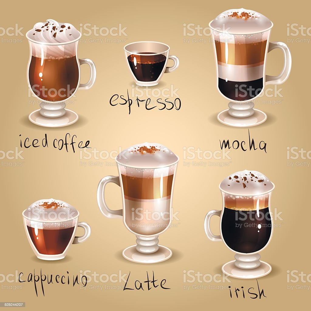 Coffee set vector art illustration