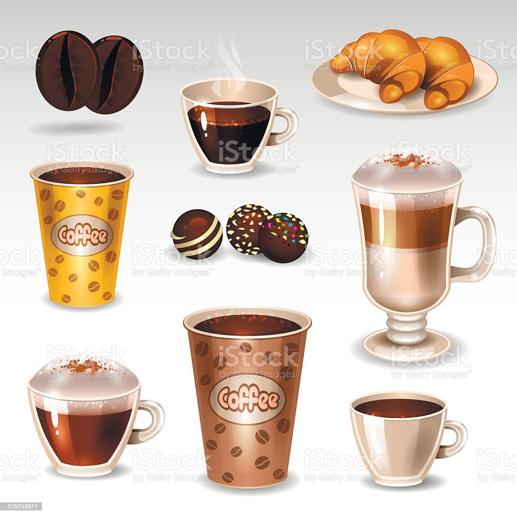 Coffee set2 vector art illustration