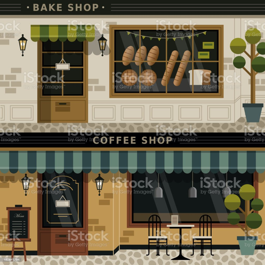 coffee shop and bakery facades vector art illustration