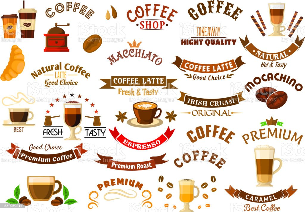 Coffee shop and cafe retro design elements vector art illustration