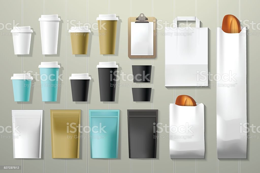Coffee shop and restaurant corporate identity packaging mock up template vector art illustration