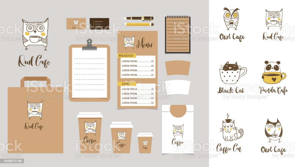 Coffee shop Branding Mock-up with owls, cats and panda vector art illustration