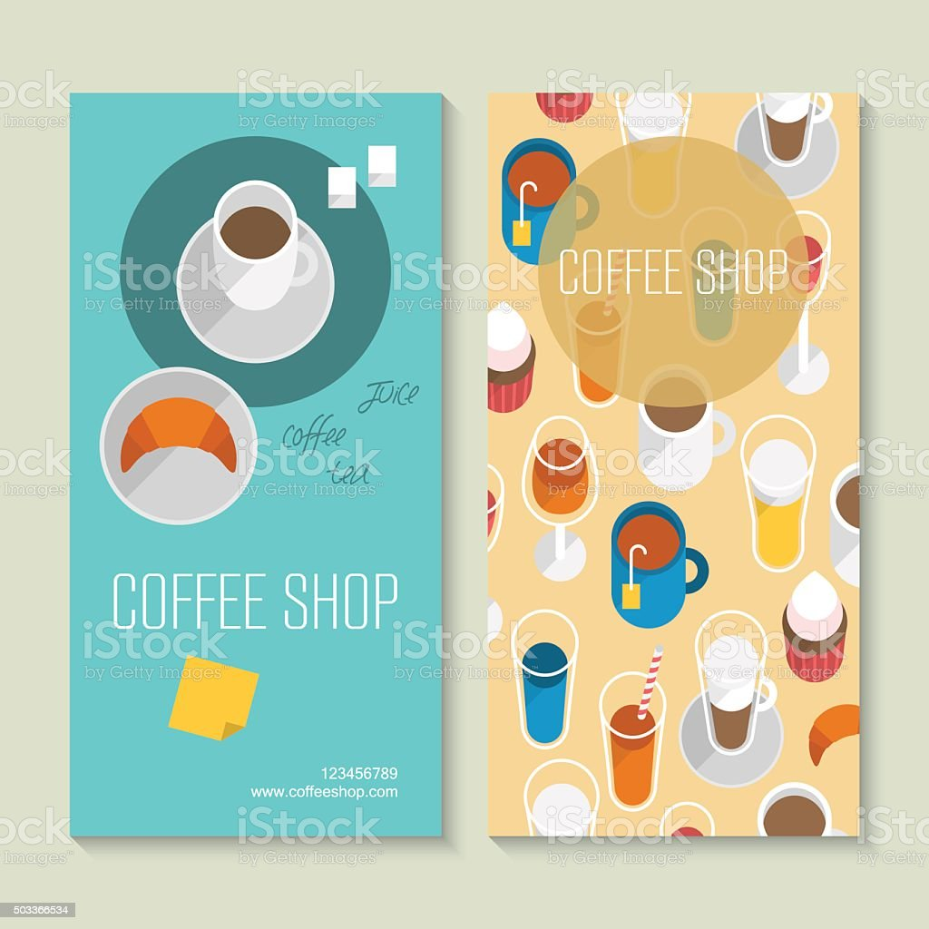 Coffee shop business card template with flat icons vector art illustration