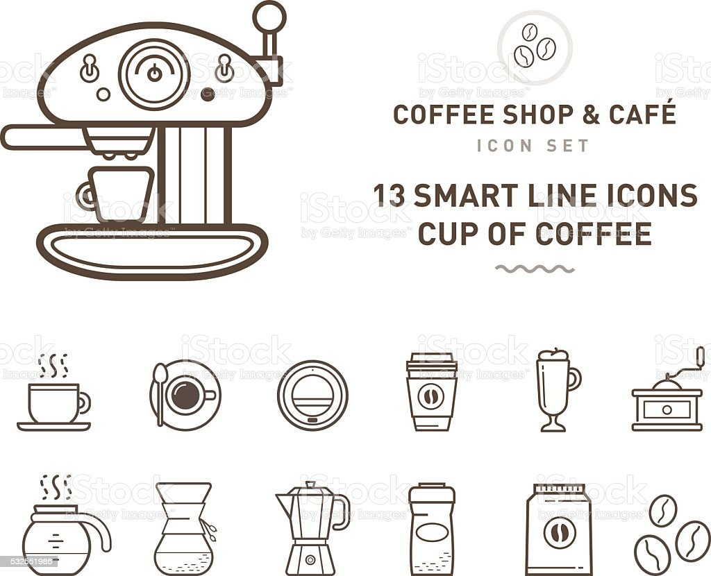 coffee shop & café line vector art illustration