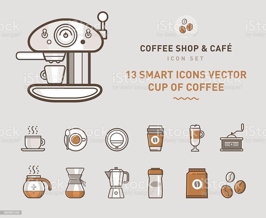 Coffee Shop & Café vector art illustration